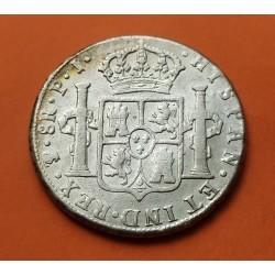 ESPAÑA Rey CARLOS IIII 8 REALES 1808 PJ Ceca de POTOSI MONEDA DE PLATA Spain Carolus colonial silver coin