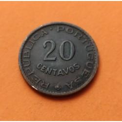 ANGOLA 20 CENTAVOS 1962 ESCUDO y VALOR KM.74 MBC República Portuguesa silver coin