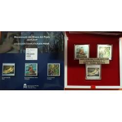 .3 monedas x ESPAÑA 10 EUROS 2019 BICENTENARIO MUSEO DEL PRADO GOYA + VELAZQUEZ + EL GRECO PLATA ESTUCHE FNMT 1 ONZA 999