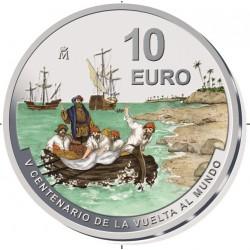 .@ENVIO 15 JUNIO@ 3ª moneda ESPAÑA 10 EUROS 2021 Serie V CENTENARIO DE LA VUELTA AL MUNDO Islas de las Especias @COLOR@ PLATA