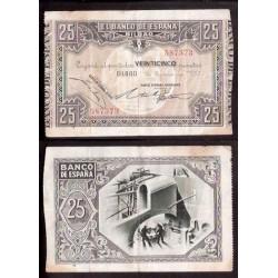 1937 EUSKADI 25 PESETAS BANCO HISPANO AMERICANO MBC- 587573 RARO
