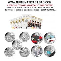 .9 monedas x FRANCIA 10 EUROS 2021 Serie 1ª HARRY POTTER PLATA SC ESTUCHE Monnaie de París 4x COLORES