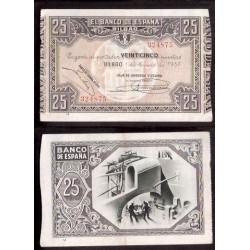 1937 EUSKADI 25 PESETAS CAJA AHORROS VIZCAINA EBC- 324875 BILBAO
