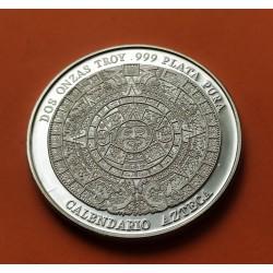 @OFERTA@ MEXICO 2 ONZAS 1992 aprox. CALENDARIO AZTECA y CABALLO MEDALLA DE PLATA PURA 999 MONEDA SC TROY OZ OUNCE 62,20 gramos