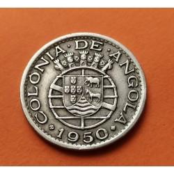 @ESCASA@ ANGOLA 50 CENTAVOS 1950 ESCUDO y VALOR KM.70 MONEDA DE NICKEL MBC Colonia de PORTUGAL