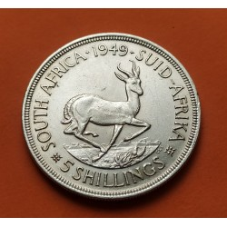 SUDAFRICA 5 SHILLINGS 1949 ANTILOPE REY JORGE VIKM.40.1 MONEDA DE PLATA EBC- South Africa