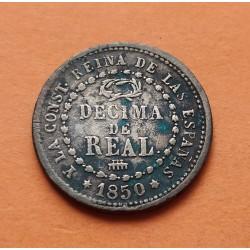 ESPAÑA Reina ISABEL II DECIMA DE REAL 1850 Ceca de SEGOVIA KM.590 MONEDA DE COBRE Spain 1
