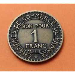 FRANCIA 1 FRANCO 1924 DAMA CHAMBRE DE COMMERCE KM.876 MONEDA DE LATON MBC France 1 Franc
