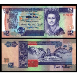 . BELIZE 2 DOLARES 2002 ISABEL II Pick 60 SC $2 Dollars UNC