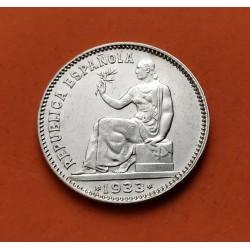 . ESPAÑA 1 PESETA 1933 * 3-4 REVERSO GIRADO PLATA REPUBLICA