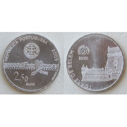PORTUGAL 2,50 EUROS 2009 UNESCO TORRE DE BELEM MONEDA DE NICKEL SC
