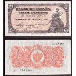 ESPAÑA 5 PESETAS 1937 PORTABELLA DAMA Serie A 6775468 Pick 106A BILLETE SIN CIRCULAR SC PLANCHA @RARO@