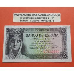 5 PESETAS 1943 FEBRERO 13 REINA ISABEL Serie C896 SC- ESPAÑA