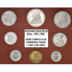. 1+2+5+10+20+50+100+500 LIRAS (Plata) 1963 VATICANO PABLO VI