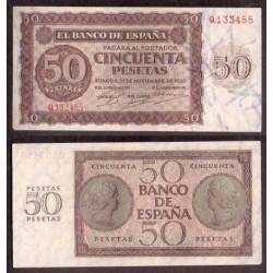 . ESPAÑA 50 PESETAS 1936 BURGOS Serie Q BILLETE SIN CIRCULAR (Esquina imperfecta)