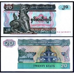 . BURMA MYANMAR 20 KYATS 1994 Pick 72 SC BILLETE BANKNOTE