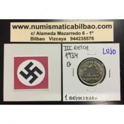 ALEMANIA 1 MARCO 1934 G AGUILA NAZI III REICH MONEDA DE NICKEL REICHSMARK @LUJO@