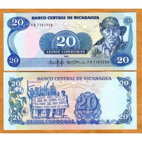 . NICARAGUA 20 CORDOBAS 2015 POLYMER Pick New SC BILLETE PLASTIC