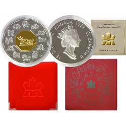 . 15 DOLARES 1999 CANADA CONEJO ORO PLATA SILVER DOLLAR LUNAR