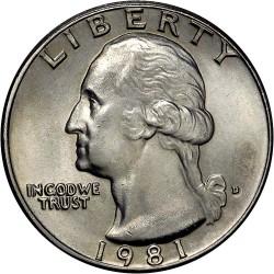 USA 1/4 DOLLAR 1981 D WASHINGTON NICKEL UNC+ QUARTER