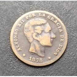 . 5 CENTIMOS 1877 OM ALFONSO XII COBRE @LUJO@ ESPAÑA