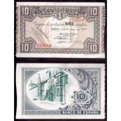 1937 EUSKADI 10 PESETAS BANCO de VIZCAYA EBC 223388 Punto aguja