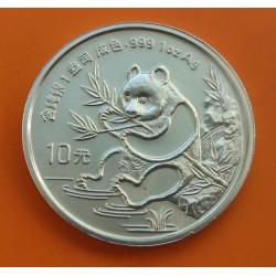 CHINA 10 YUAN 1991 OSO PANDA PLATA SILVER Big Date Silber 1 Oz