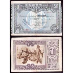 1937 EUSKADI 50 PESETAS BANCO DE VIZCAYA EBC- 044644 BILBAO