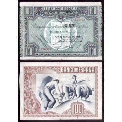 BILBAO EUSKADI 100 PESETAS 1937 BANCO DE BILBAO 326567 BILLETE EBC- EUZKADI PICK S.565