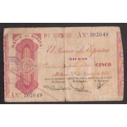 1936 EUSKADI 5 PESETAS CAJA MONTE PIEDAD Serie A 302049