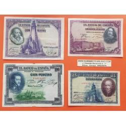 . 25+50+100 PESETAS 1925 y 1928 Lote de 4 billetes ESPAÑA