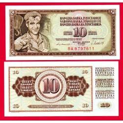 . YUGOSLAVIA 10 DINARA 1978 Pick 87 SC BILLETE DINAR