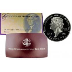 . ESTADOS UNIDOS $1 DOLAR 1993 S THOMS JEFFERSON PLATA PROOF Dol