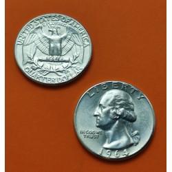 USA 1/4 DOLLAR 1964 D WASHINGTON UNC SILVER QUARTER