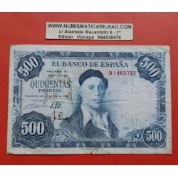 ESPAÑA 500 PESETAS 1954 PINTOR IGNACIO ZULOAGA Serie D 1465723 Pick 154 BILLETE MUY CIRCULADO Spain banknote PVP NUEVO 85€