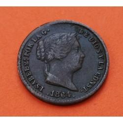 ESPAÑA REINA ISABEL II 5 CENTIMOS DE REAL 1864 Ceca de SEGOVIA KM.602 MONEDA DE COBRE MBC Spain