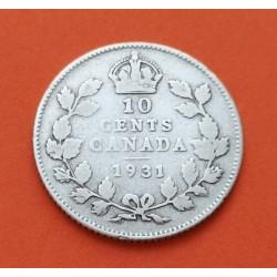 CANADA 10 CENTAVOS 1931 REY ORGE V KM.23 MONEDA DE PLATA 10 Cent silver coin