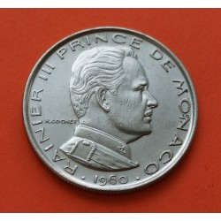 MONACO 1 FRANCO 1960 PRINCIPE RAINIERO III @1º AÑO DE EMISION@ KM.140 MONEDA DE NICKEL SC- Principado