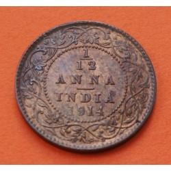 INDIA 1/12 ANNA 1914. Bombay 1 PIE GEORGIUS V KING EMPEROR KM.509 MONEDA DE BRONCE SC- British India UK Colony