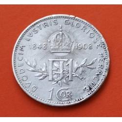 AUSTRIA 1 CORONA 1908 ESCUDO PLATA SC- Silver Osterreich Krone