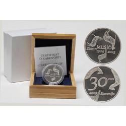 ESLOVENIA 30 EUROS 2009 PINTOR ZORAN MUSIK MONEDA DE PLATA PROOF ESTUCHE y CERTIFICADO Slovenia 30€ silver coin