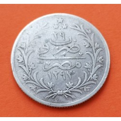 EGIPTO 5 QIRSH 1903 H Año 29 SULTAN ABDUL HAMID II KM.294 MONEDA DE PLATA MBC- Egypt 26 mm. AH1293