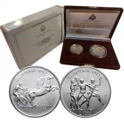 2 monedas x SAN MARINO 500 LIRAS 1992 + 1000 LIRAS 1992 OLIMPIADA DE BARCELONA PLATA SC silver Set DITTICO