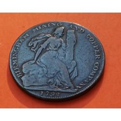 INGLATERRA 1/2 PENIQUE 1792 Ciudad BIRMINGHAM Warwickshire Mining and Copper Company MONEDA DE COBRE Half Penny Token