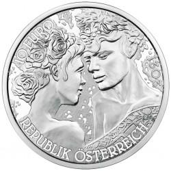 . 1ª moneda x AUSTRIA 10 EUROS 2021 LA ROSA AMOR y DESEO Serie THE LANGUAJE OF FLOWERS PLATA SC COINCARD The Rose