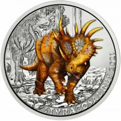 . 8ª moneda AUSTRIA 3 EUROS 2021 Serie DINOSAURIOS - STYRACOSAURUS y T-REX NICKEL SC COLORES SE ILUMINA EN LA NOCHE Österreich
