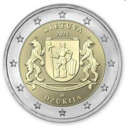 . @ENVIO INMEDIATO@ LITUANIA 2 EUROS 2021 Región de DZUJIKA Escudo y Leones 2ª MONEDA CONMEMORATIVA SC Lietuva