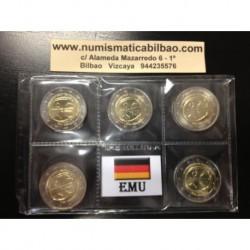 2 EUROS 2009 ALEMANIA EMU ANIVERSARIO SC A+D+F+G+J 5 MONEDAS SIN CIRCULAR