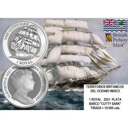 . @1 ONZA 2021@ INGLATERRA Colonia 1 ROYAL 2021 BARCO CUTTY SARK MONEDA DE PLATA capsula BRITISH INDIAN OCEAN TERRITORY