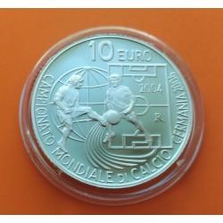 SAN MARINO 10 EUROS 2004 COPA MUNDIAL DE FUTBOL ALEMANIA 2006 KM 463 MONEDA DE PLATA PROOF @NO ESTUCHE@